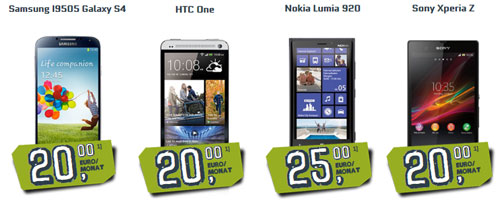 Neu bei yourfone: Samsung Galaxy S4, HTC One, Nokia Lumia 920